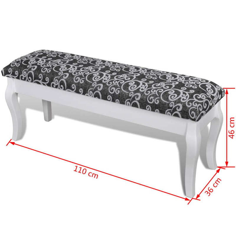 2-Seater Cushioned Hocker For Dressing Table 110 Cm - Black