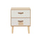 2 Drawers Bedside Cabinet Solid Pinewood