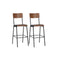 2 Pcs Bar Chairs Brown Solid Plywood Steel