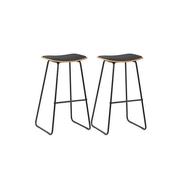 2 Pcs Bar Stools With Faux Leather Seats Black Steel