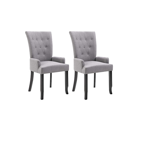 2 Pcs Dining Chair With Armrests Light Grey Fabric
