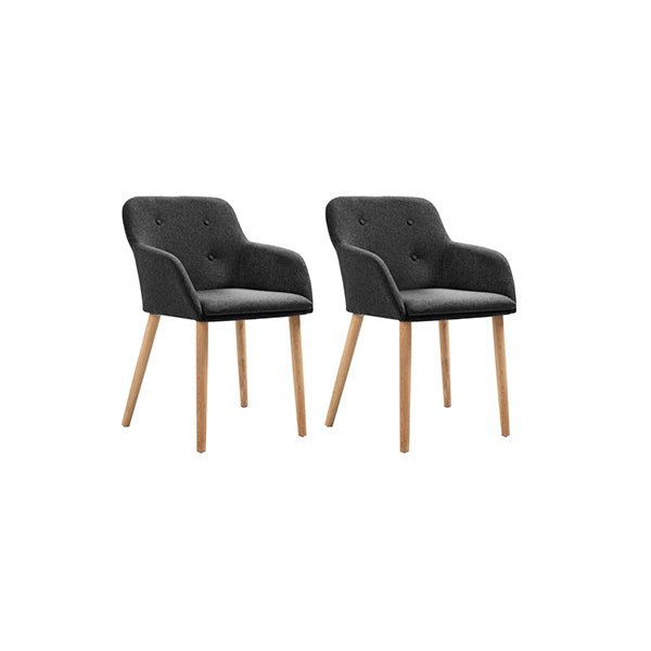 2 Pcs Dining Chairs Fabric And Solid Oak Wood