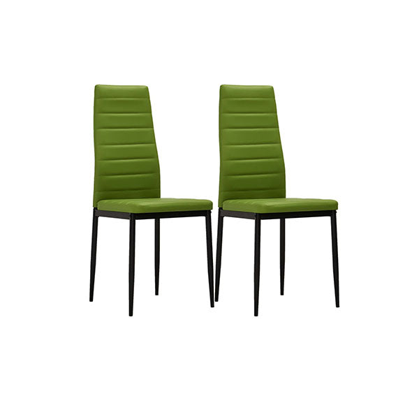 2 Pcs Dining Chairs Lime Green Faux Leather