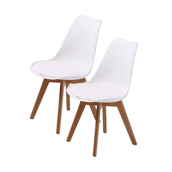 2 Pcs Padded Seat Dining Chair White