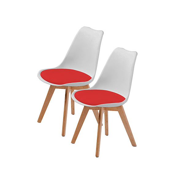 2Pcs Padded Seat Dining Chair White Red