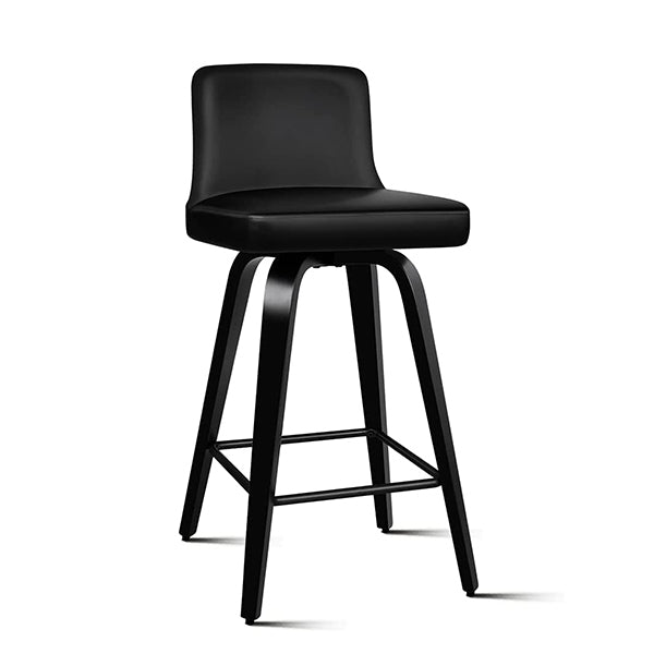 2Pcs Swivel Bar Stools Bailey Kitchen Wooden Dining Chair All Black