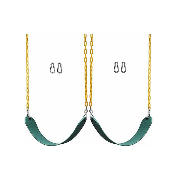 2 Pack Swings Seats 66 Inch Chain Plastic Coated Playground Swing