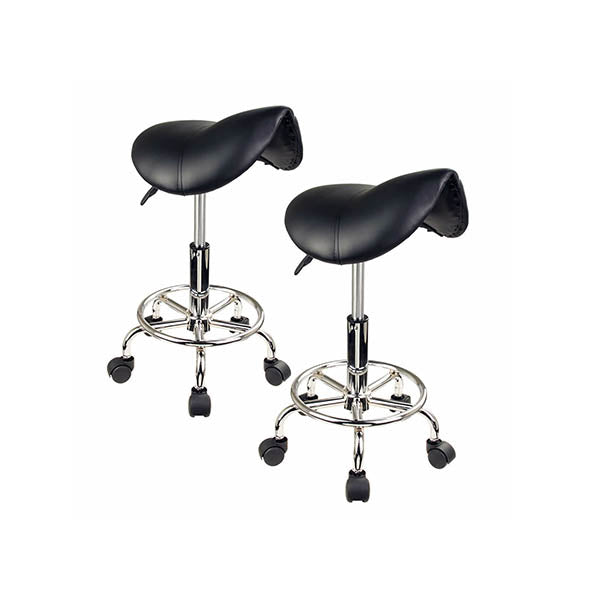 2 Pcs Black Saddle Salon Stool