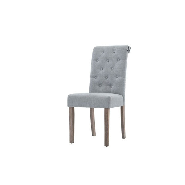 2 Pcs Dining Chairs French Provincial High Back Pine Wood Light Grey