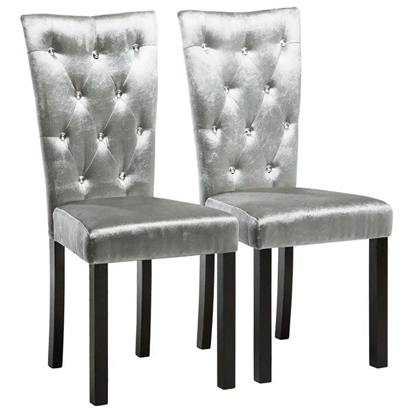 2 Pieces Silver Velvet Dining Chairs