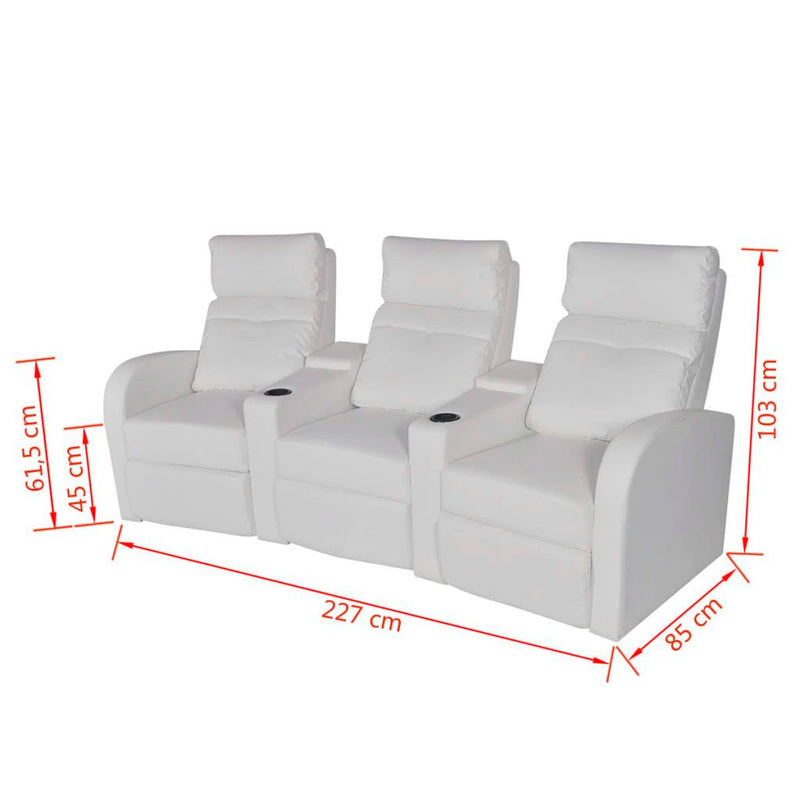 3-Seat Artificial Leather Recliner - White