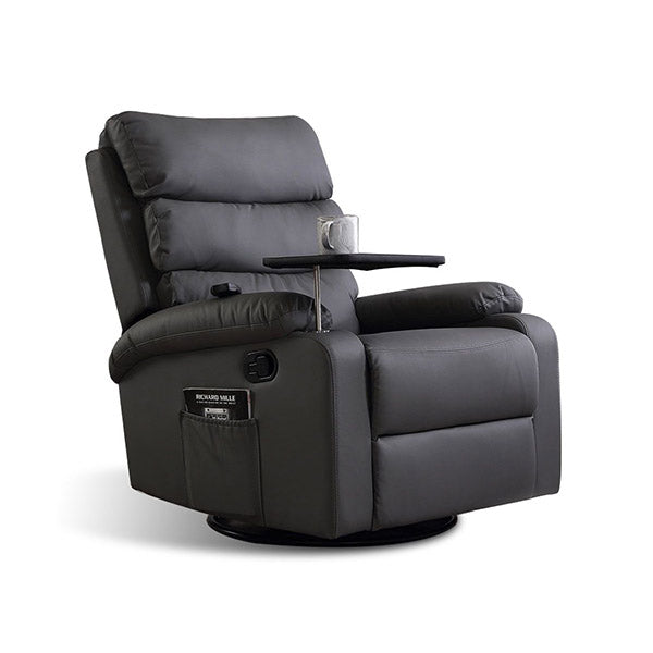 360 Swivel Massage Recliner Heated Lounge Sofa Armchair Grey