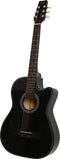 38in Wooden Folk Acoustic Guitar (Black)