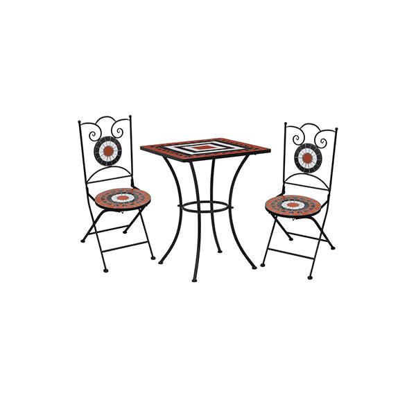 3 Piece Mosaic Bistro Set Ceramic Tile Terracotta And White