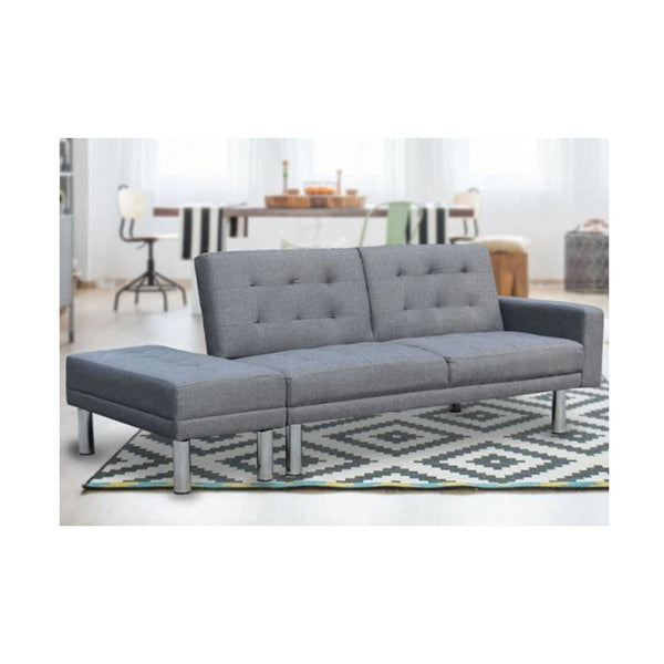 3 Seater Linen Sofa Bed Convertible Couch With Ottoman Grey