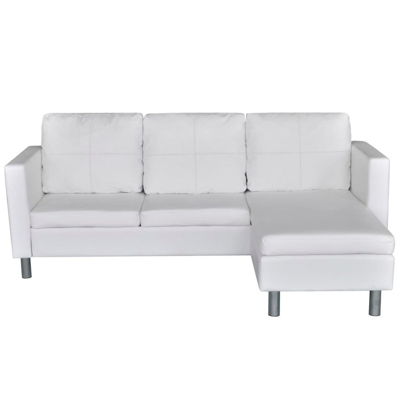 3 Seater L-shaped Sectional Artificial Leather Sofa - White