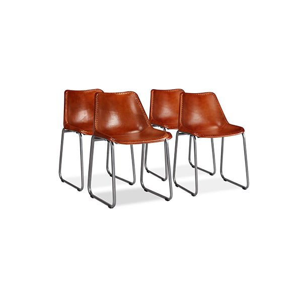 4 Pcs Brown Real Leather Dining Chairs
