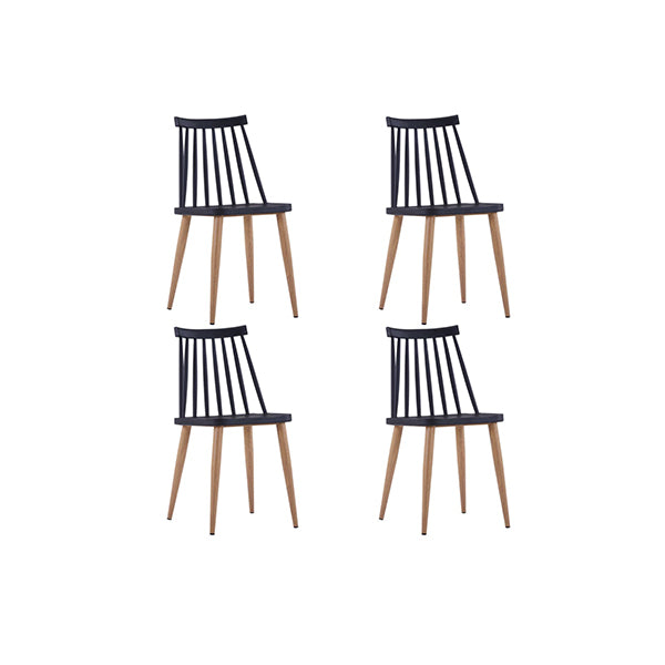 4 Pcs Dining Chairs Black Plastic