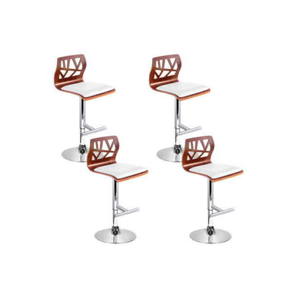 4 Pcs Gas Lift Wooden Bar Stools Kitchen Dining Chairs White