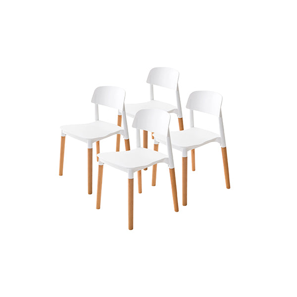 4 Pcs White Belloch Stackable Dining Chair