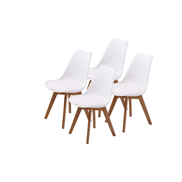 4 Pcs White Padded Seat Dining Chair