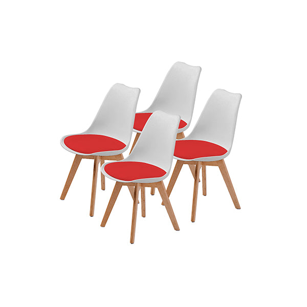 4 Pcs White Red Padded Seat Dining Chair
