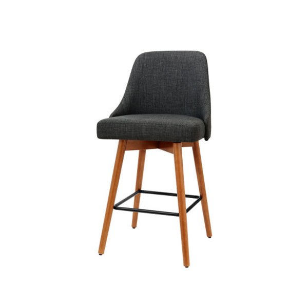 4 Pcs Wooden Bar Cafe Stools Swivel Dining Chairs Charcoal