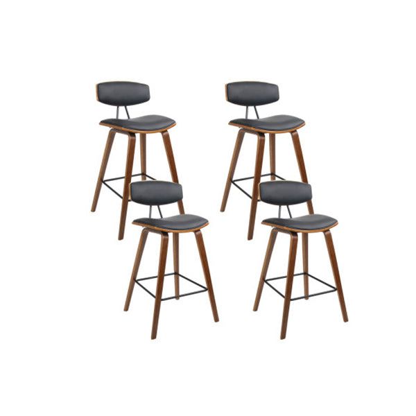 4 Pcs Wooden Cafe Kitchen Bar Stools Dining Chairs Black