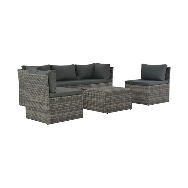 4 Piece Poly Rattan Garden Lounge Set With Cushions Grey