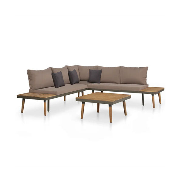 4 Piece Solid Acacia Wood Garden Lounge Set With Cushions Brown
