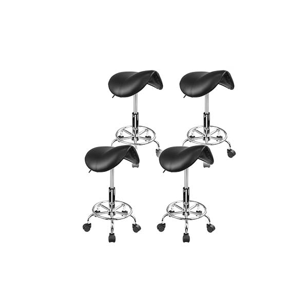 4 Pieces Black Saddle Salon Stool
