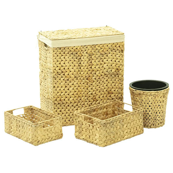 4 Pieces Water Hyacinth Bathroom Basket Set