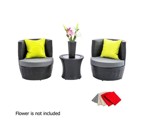 4pcs Black Wicker Rattan 2 Seater Outdoor Furniture Set