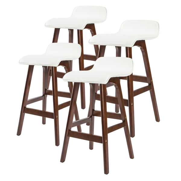 4X Oak Wood Bar Stool 65Cm Leather Sophia
