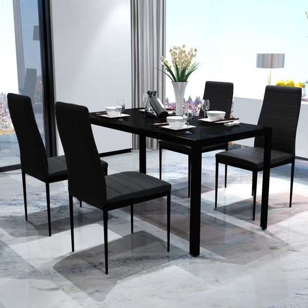 5-Piece Dining Table Set - Black