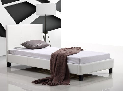 Single PU Leather Bed Frame - White