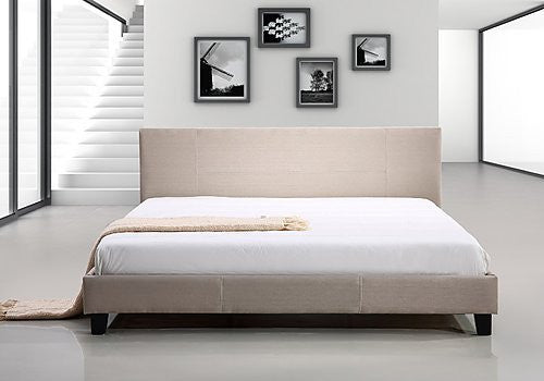King Linen Fabric Bed Frame - Beige