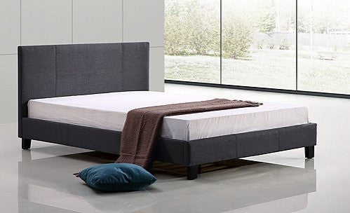 Double Linen Fabric Bed Frame - Grey