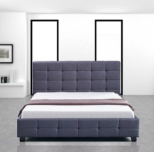 Linen Fabric Double Deluxe Bed Frame Grey