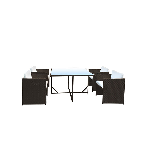 5 Piece Outdoor Dining Table Set Rattan Table Chairs Garden