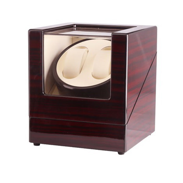Automatic Dual Watch Winder Wood Display Box Case