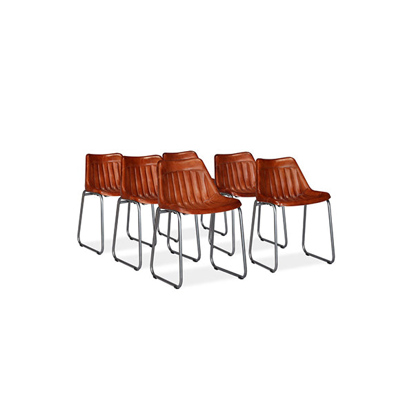 6 Pcs Brown Real Leather Dining Chairs