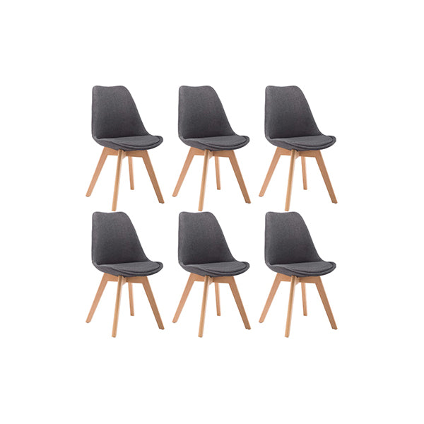 6 Pcs Dining Chair Dark Grey Fabric