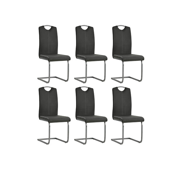 6 Pcs Dining Chairs Faux Leather Grey