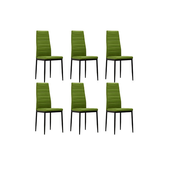 6 Pcs Dining Chairs Lime Green Faux Leather