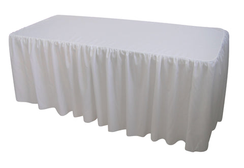 WHITE TABLE CLOTH TRESTLE COVER – 6FT. GATHERED