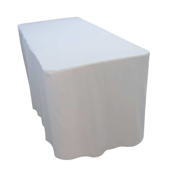 3dde8ba79340 6 Foot White Table Cloth Trestle Cover – Simply Wholesale