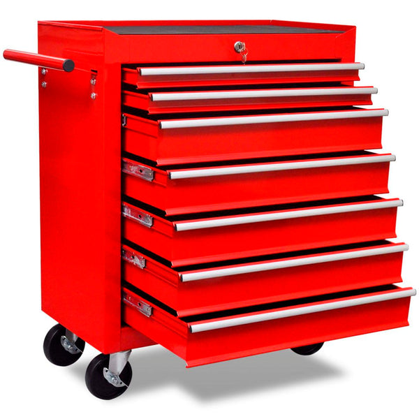 7-Drawer Workshop Tool Trolley - Red