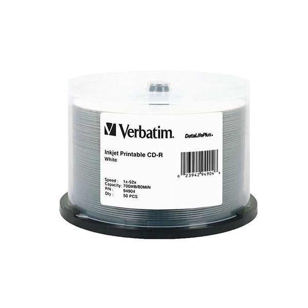 50 Pack Verbatim 94904 Datalifeplus Cdr White Inkjet Printable Spindle