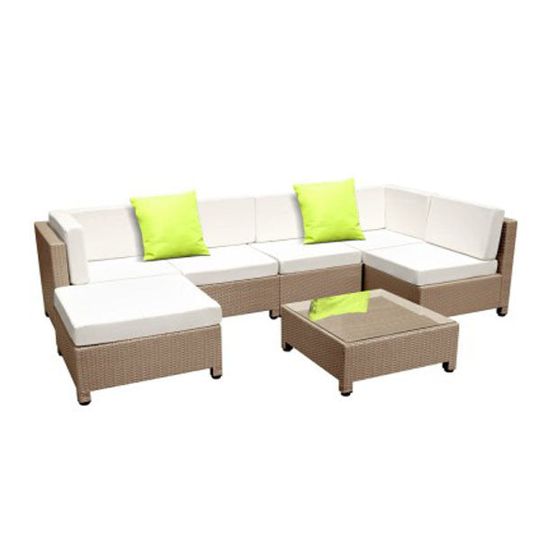 7 pcs Brown Wicker Rattan 6 Seater Outdoor Lounge Set Beige